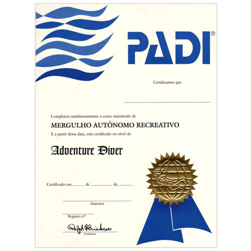 Adventure In Diving Certificate (40079 - Português)