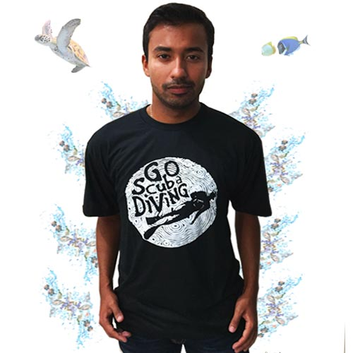 Camiseta Go Scuba Diving - Preto