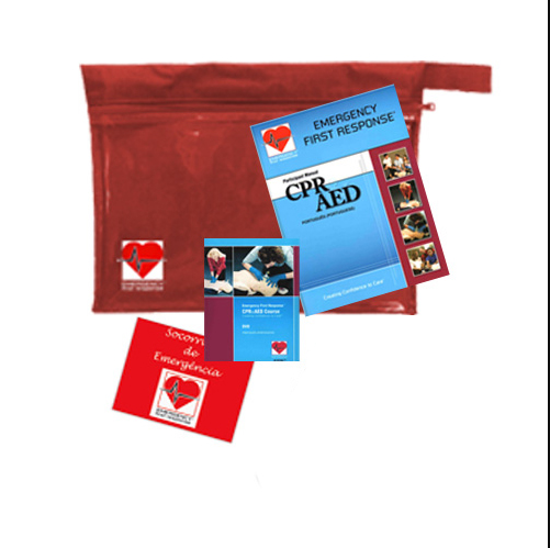 Emergency First Response CPR&AED Crew Pack (Manual and DVD) w/ Barrier, Gloves and Sticker (70017 - Português)